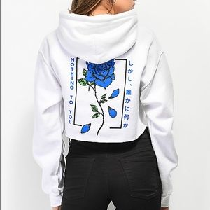 Empyre | Blue Flame Rose White Crop Top Hoodie